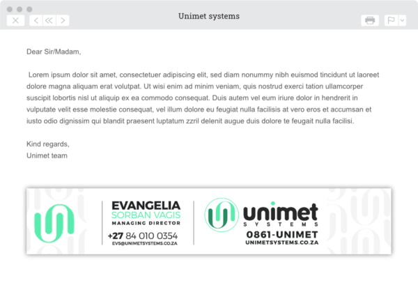 Gallant Marketing Group - Unimet Systems - Corporate Identity - Example 5
